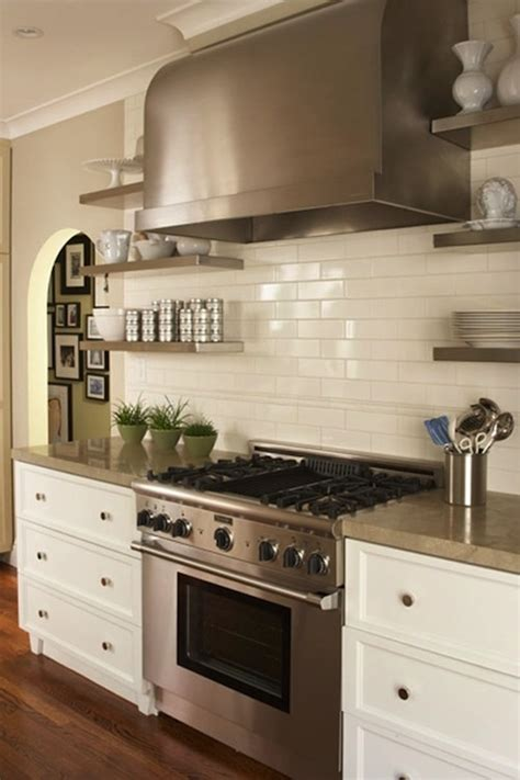 floating stainless steel shelves kitchen traditional