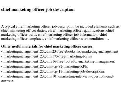 Marketing Officer Description by Chief Marketing Officer Description
