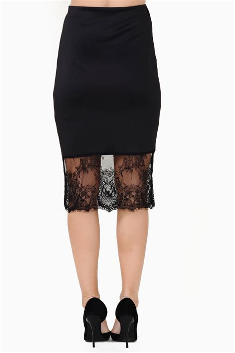 aoine lace trim pencil skirt in black iclothing