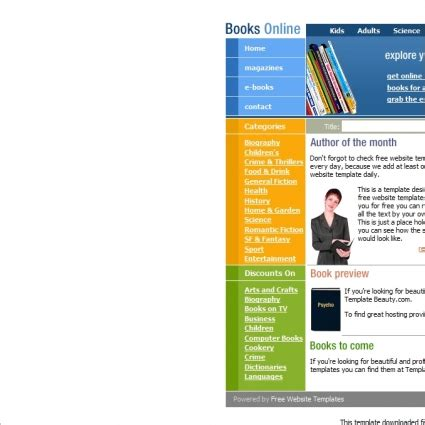 books online template free website templates in css html