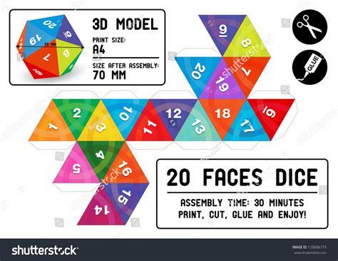 Papercraft Dice - twenty faces 3d papercraft dice colorful stock vector