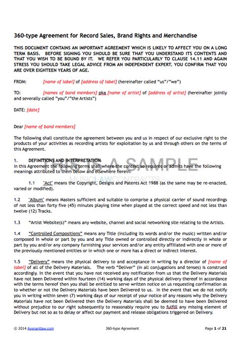 Record Label Contracts Templates by 360 Deal Contract Templates See A Sle