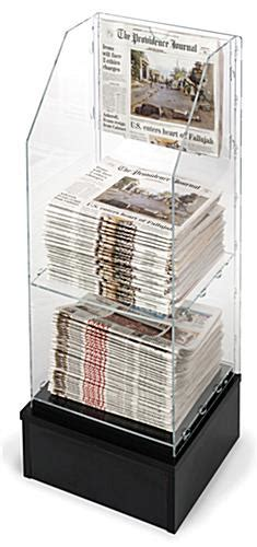 Newspaper Display Rack by Floor Standing Newspaper Display 2 Shelves For 75 Daily