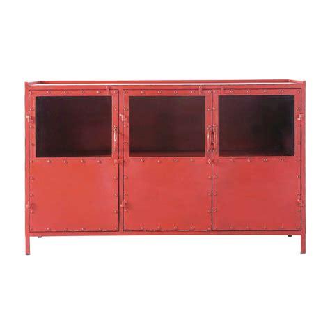 credenza rossa credenza rossa con vetrine stile industriale in metallo l