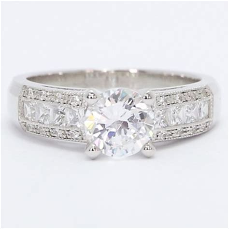 wide pave set engagement ring 14k white gold