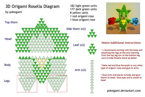 3d Origami Patterns - 3d origami roselia diagram by pokegami on deviantart