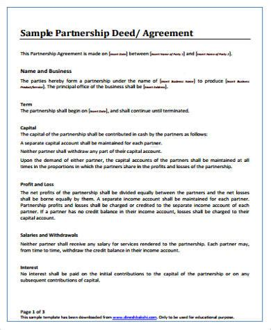 deed of agreement template sle partnership agreement sle agreement form sle