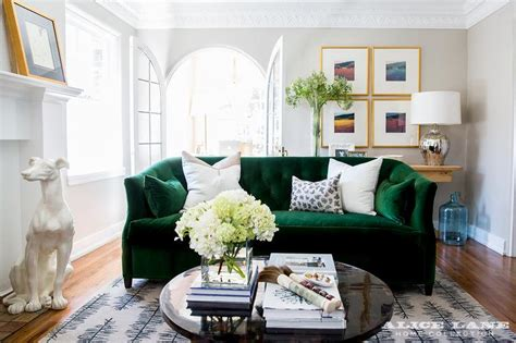 green sofa living room decor emerald green room contemporary living room sherrill