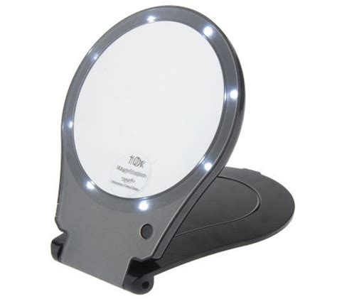 Lighted Travel Mirror Floxite Lighted 10x Magnification Travel Mirror Qvc Com