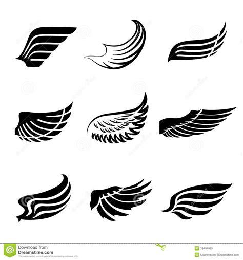 abstract feather wings icons set stock vector