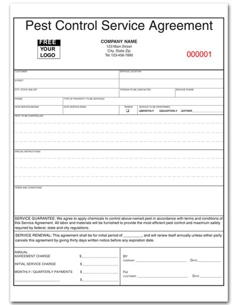 Pest Control Service Agreement Form Pest Bid Template