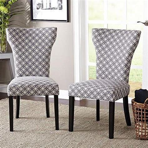 pattern fabric dining chairs set of 2 modern gray pattern fabric accent dining chairs