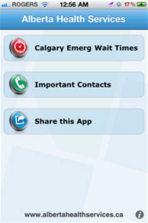emergency room wait times app alberta health services iphone app shows emergency wait times for calgary and edmonton iphone