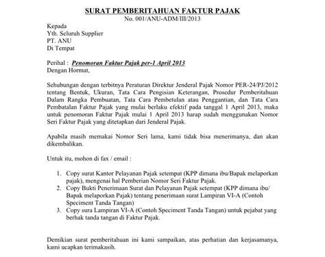 contoh surat pemberitahuan pembatalan faktur pajak ke kpp