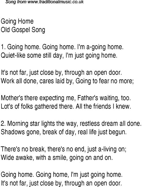going home christian gospel song lyrics and chords