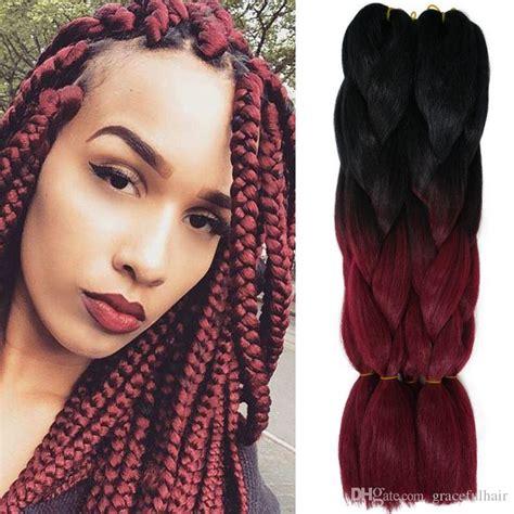 picture of red xpression braids kanekalon ombre braiding hair bulks two tone xpression