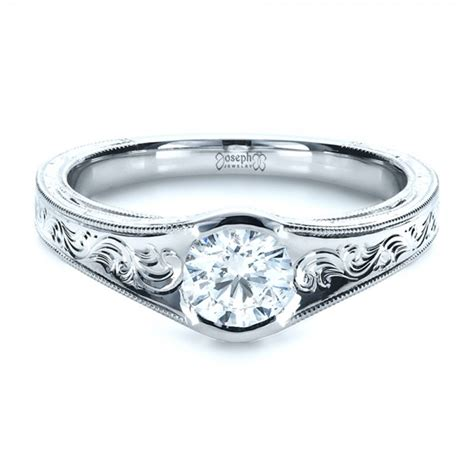 Engraved Engagement Rings by Custom Engraved Solitaire Engagement Ring 1186
