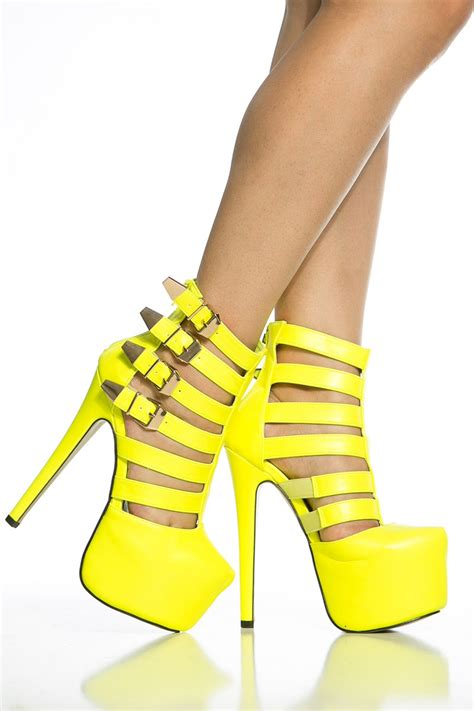neon yellow faux leather caged platform stiletto heels cicihot heel shoes store sales