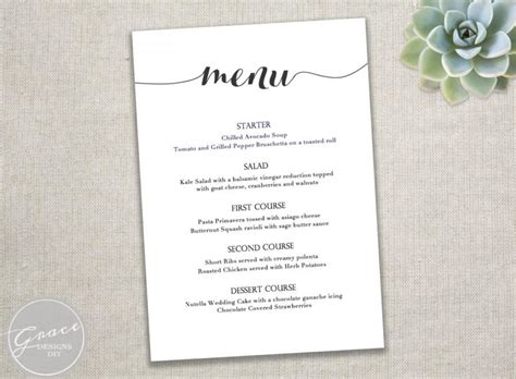 Printable Black Menu Template Calligraphy Style Script Instant Download Diy In Microsoft Free Wedding Menu Templates For Microsoft Word