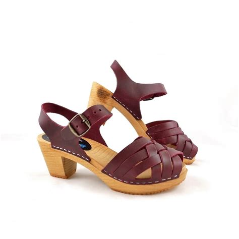 clogs sandals moheda betty wooden clogs sandals in bordeaux leather