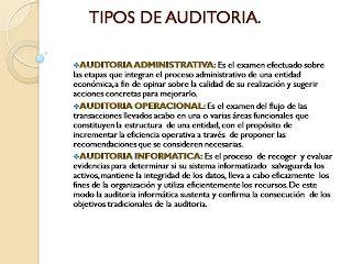 tipos de auditoria auditoria tipos de auditoria