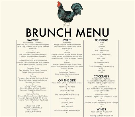 Chelsea S Kitchen Menu by Foragers City Table Brunch Menu Organic Food Chelsea