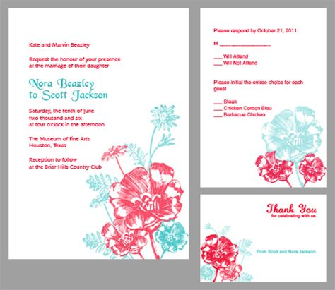 printableinvitationkits com red and turquoise flowers invitation kit wedding
