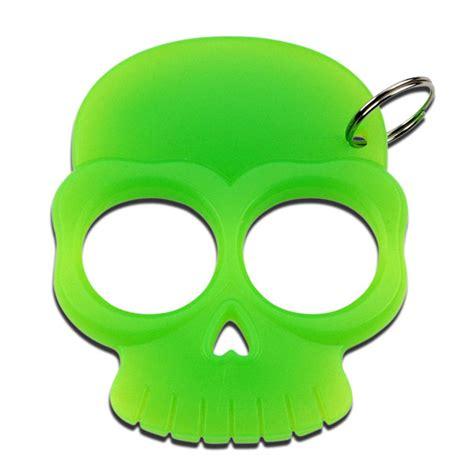 zombie skull 2 finger knuckle two finger green self defense skull knuckle keychain