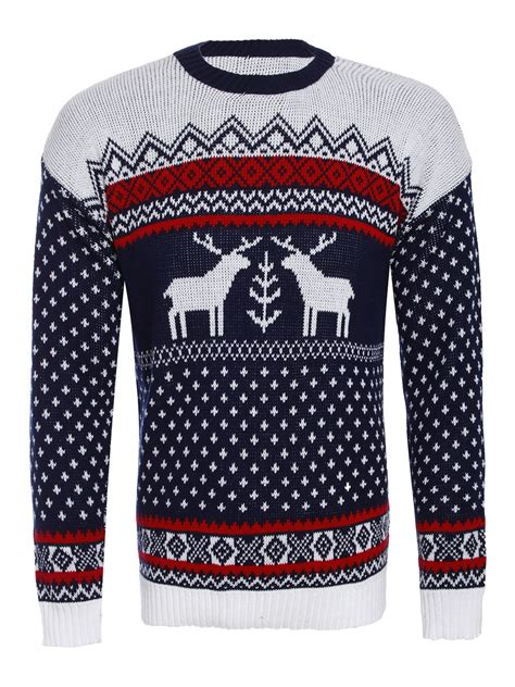 knitting pattern christmas jumper reindeer mens christmas jumper knitted xmas reindeer fairisle knit