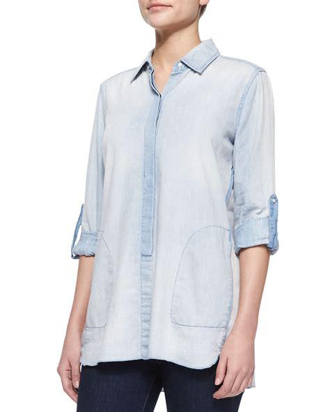 Diandra Chambray Tunic Shirt lyst christopher blue chambray tunic shirt in blue