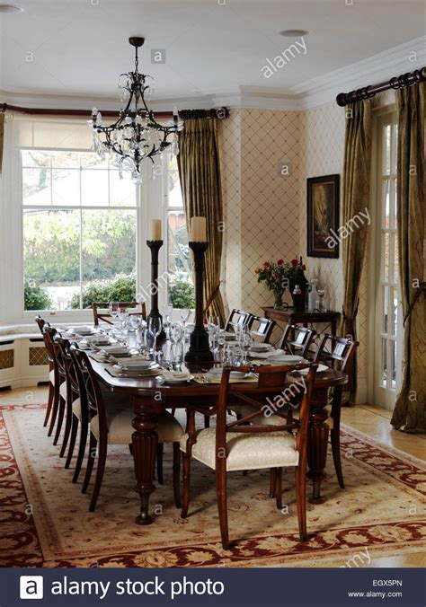 table  chairs  traditional dining room uk home stock photo  alamy