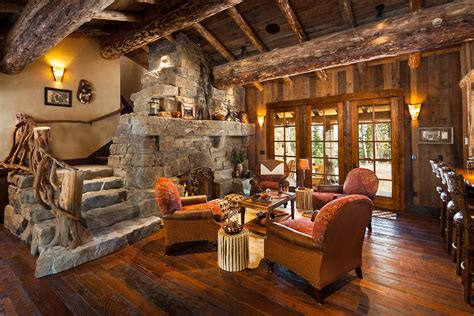 log cabin great room pictures foxtail residence big sky log cabins by teton heritage