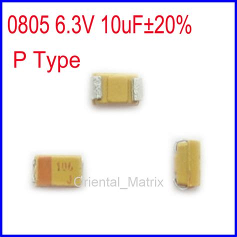 types of capacitors smd 20pcs 0805 6 3v 10uf smd tantalum capacitor 20 p type in capacitors from electronic