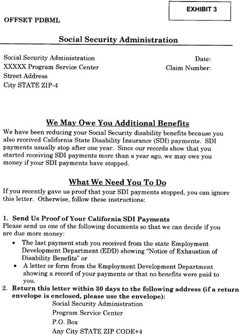 Award Letter From Ssa Ssa Poms Di 52135 030 California Disability Benefits Pdb 11 03 2017
