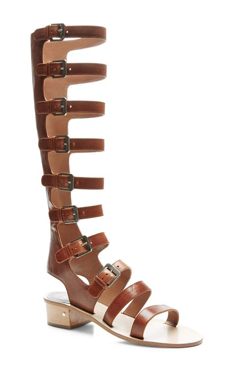 brown gladiator sandals lyst laurence dacade halle leather gladiator