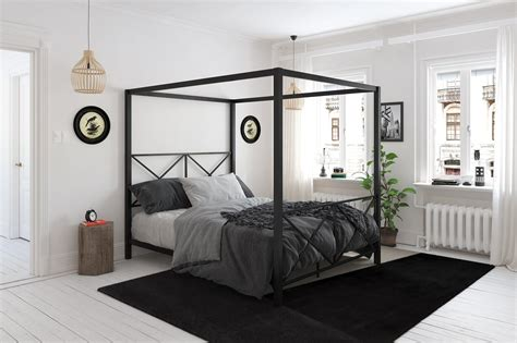 silver canopy bed frame dhp furniture rosedale metal canopy bed