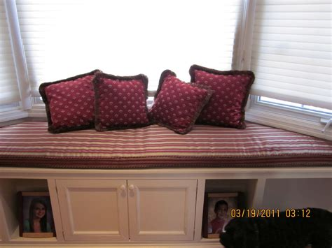 pillows for bench seating hand crafted bay window seat cushion with matching pillows