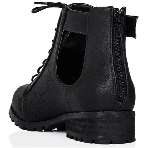 buy strung flat cut out biker ankle boots black leather