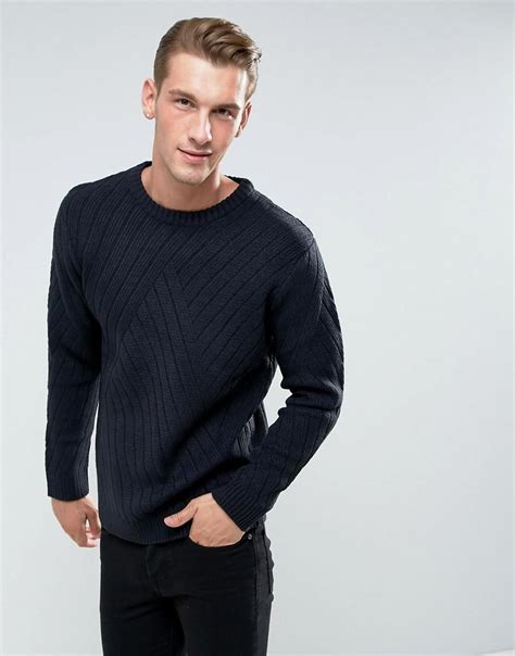 Bellfield Textured Knit lyst bellfield jumper with rib texture in blue for
