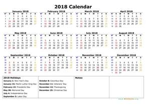 2018 Calendar With Holidays Free 2018 Calendar With Holidays Weekly Calendar Template