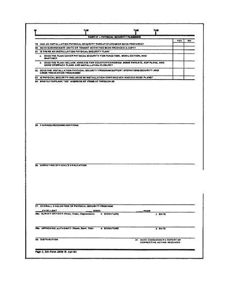 physical security survey template figure 2 4 physical security survey report da form 2806