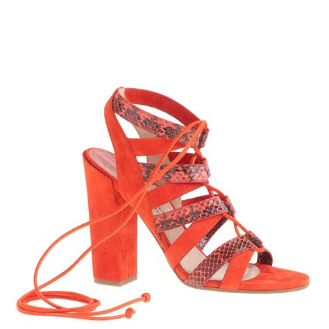 high heels with lace up lyst j crew paul andrew lace up high heel sandals in