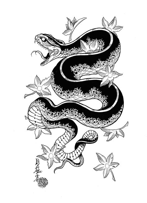 asian snake tattoo designs black ink japanese snake design