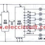 two way 12 led s running lights using 4017 and 555 astable led chaser circuit by ic 4017 ic 555 eleccircuit com