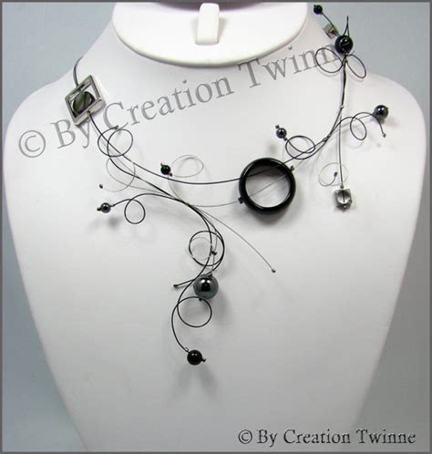 Handcrafted Designs - black gray statement swirls necklace funky designs