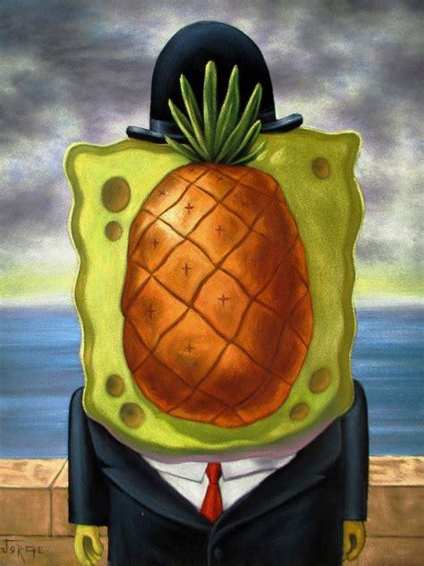 spongebob painting spongebob squarepants sponge bob magritte painting