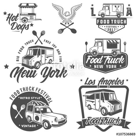food truck design elements quot food truck emblems badges and design elements