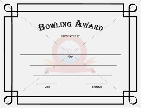 Bowling Certificate Template by Bowling Award Template Certificate Template