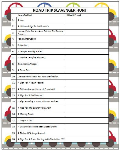 Printable Car Games For Adults | road trip scavenger hunt free printable trip games mom
