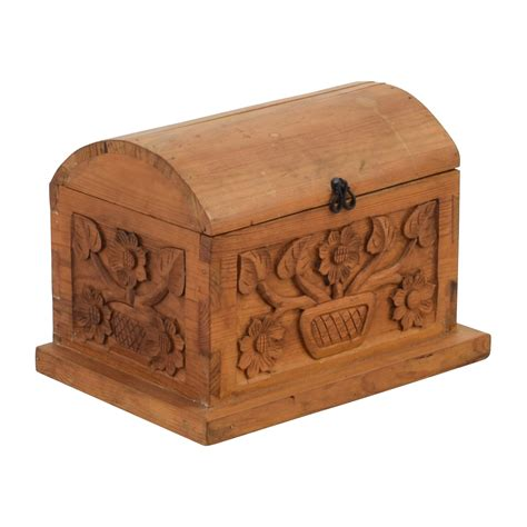 51% OFF   Small Floral Carved Pine Wood Chest / Storage